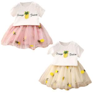 Nette-Baby-Maedchen-Kleidung-Sets-Sommer-Kurzarm-Ananas-Druck-T-Shirts-Und-S-W6T6