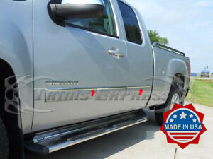 2007-2013 GMC Sierra Extended Cab 4Pc Chrome Body Side Molding Trim Overlay 1""