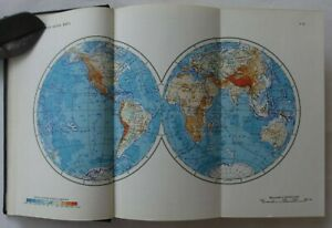 Old-Russian-Book-Atlas-of-the-world-physical-political-map-1963-Soviet-USSR-VTG