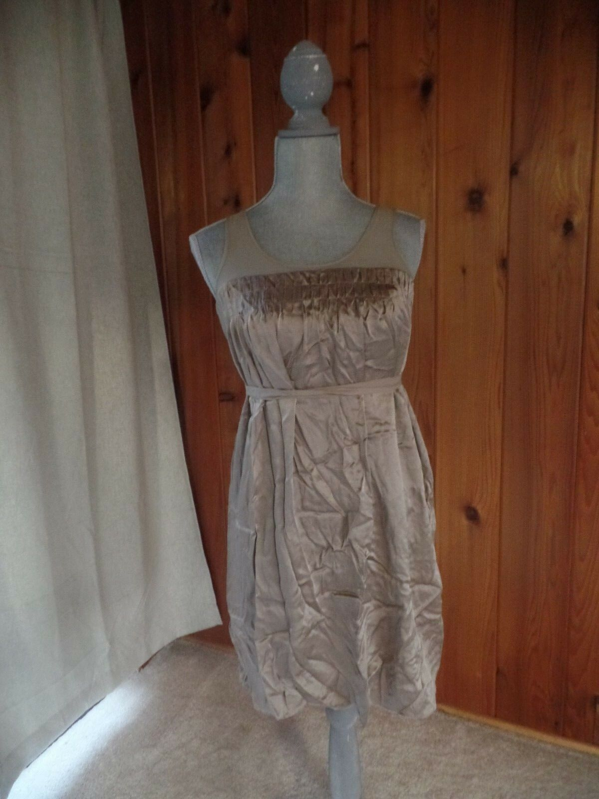 Vince gold Silk tank Bubble Dress Size S pleated