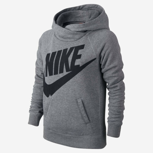 Nike Kids/' RALLY FUNNEL NECK PULLOVER HOODIE Grey//Black 728409-091 a