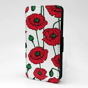 For Mobile Phone Flip Case Cover Poppies Sketch Red - S1272