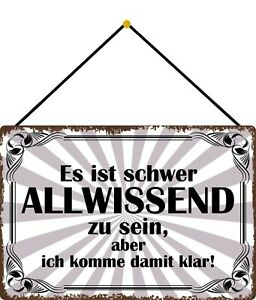 Strong Allwissend Zu Sein Shield with Cord Metal Tin Sign 20 X 30 CM FA1762-K
