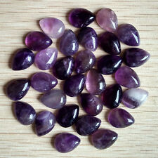Wholesale 30pcs natural amethyst stone drop CAB CABOCHON teardrop beads 10*14mm