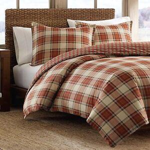 Eddie Bauer Edgewood Red Plaid Cotton 3 Piece Duvet Cover