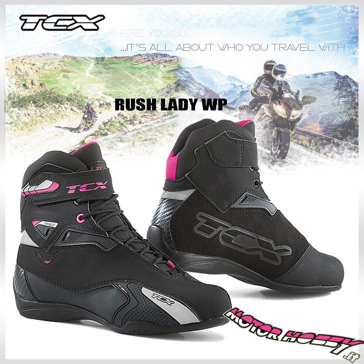 TCX Stivali moto donna 9506W RUSH LADY WP Nero//Fucsia