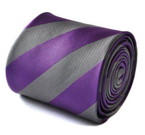 Frederick Thomas Designer Mens Tie Repp Club Striped Purple /& Silver Grey