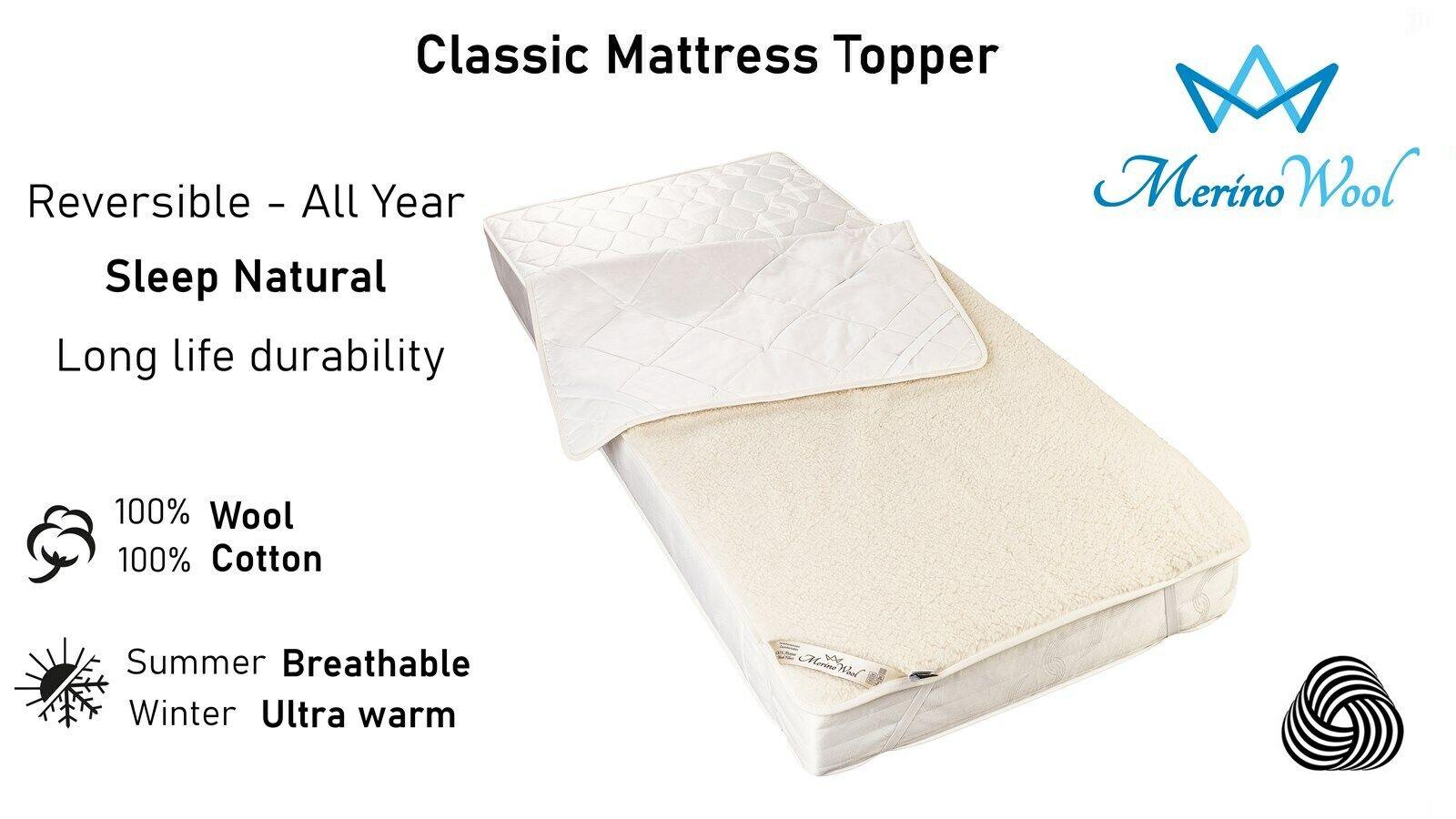 Merino Wool Mattress Topper 90 x 200 cm Padded Fleece Under Blanket Single Size