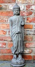 Tall Standing Thai Buddha Ceramic Garden Outdoor Indoor Statue Ornament  Grey