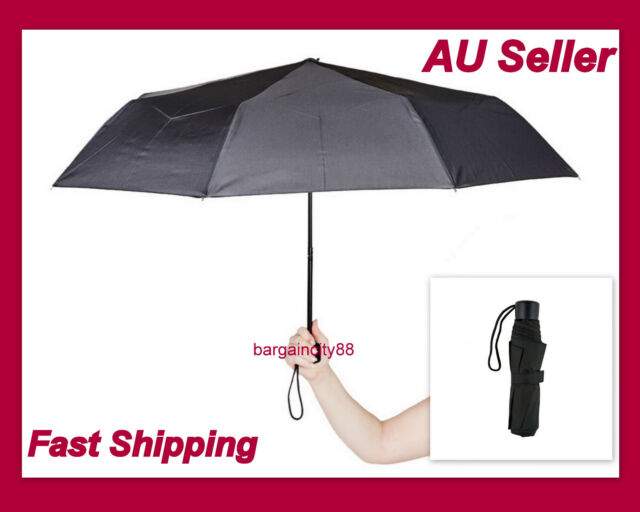 Korjo Small Pocket Strong Travel&Compact Umbrella Men's Women's 3Fold Black Mini