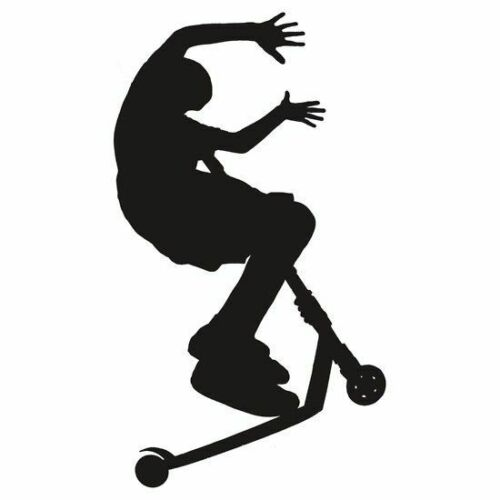 Scooter Stunt Vinyl Wall Decal with Name