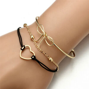 Women-039-s-Bowknot-Chain-Crystal-Love-Adjustable-Open-Gold-Plated-Bangle-Bracelets