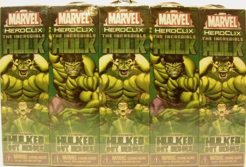 HeroClix sealed Brick ~ The INCREDIBLE HULK ~ Marvel 5 figure Booster pack x 10