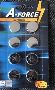 A-FORCE 8 Piles Battery Bouton CR2032 LITHIUM Qualité supérieure