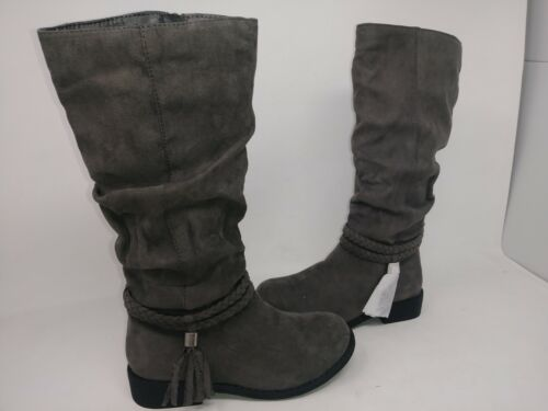 So Youth Girl/'s Elle Gray Memory Foam Fringe Strap Boots #213532 195X tp NEW