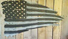 Tattered American Flag Battle Torn Metal Wall Art Hanging Home Decor Rustic
