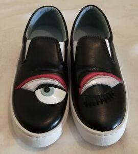 CHIARA FERRAGNI Flirting Eye Wink Leder Slip on schwarz Sneaker schwarz on Größe c87a10