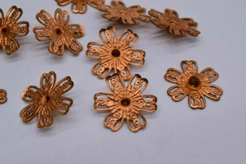 20 Vintage Copper Flower Pendant Charm Jewelry Findings 17 mm