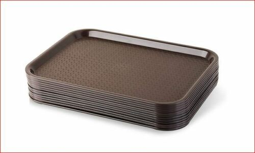 """12 NIB New in Box Sysco 5960547 Cafe Fast Food Cafeteria Tray 14/""""x18/"""" Dark Brown"""