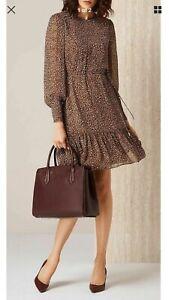Stunning-LK-BENNETT-Dakota-dress-animal-print-New-Brown-UK-Size-14