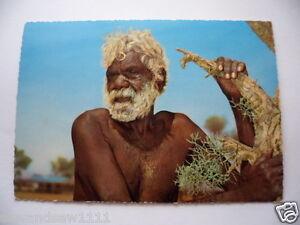 VINTAGE-USED-UNPOSTED-COLOUR-POSTCARD-ABORIGINAL-MAN-AUSTRALIAN-WITH-FLORA