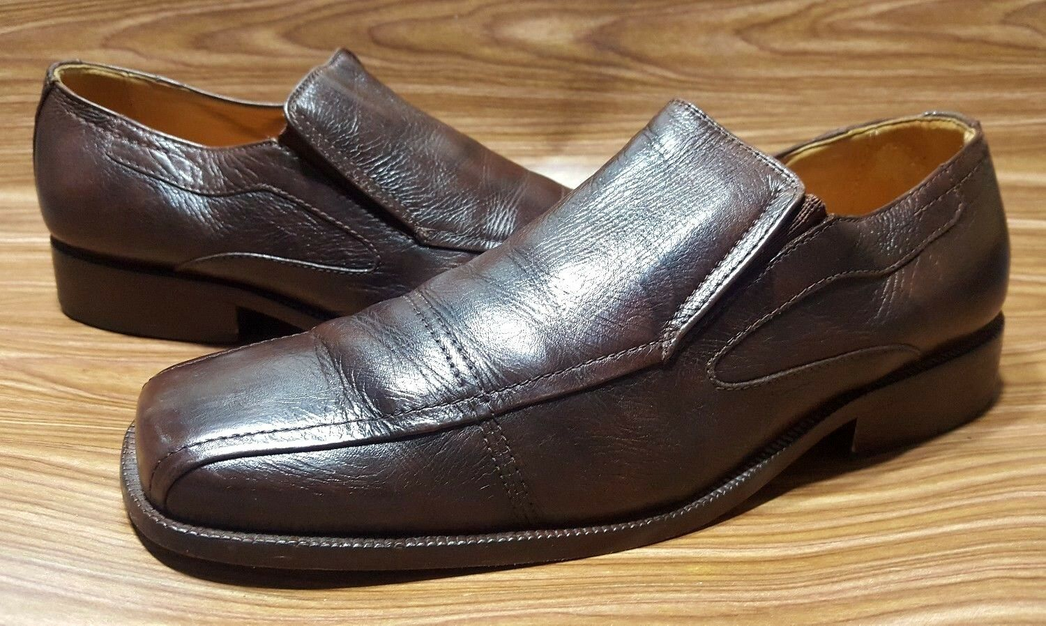 BOSTONIAN MENS LOAFERS SLIP ON BROWN LEATHER DRESS SHOES 9 D