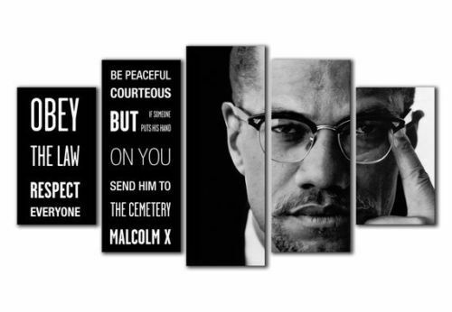 Framed Malcolm X Quote Five Piece Canvas Multi Panel Home Decor Art 5