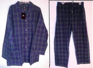 NWT Mens NAUTICA Sleepwear 2 Pair Navy Anchors Plaid Lounge Pajama Pants 2XL XXL