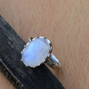 AAA Rainbow Moonstone Ring-Blue Flash Rainbow Marquise Ring-925 Sterling Silver Designer Ring-June Birthstone-Moonstone Ring-Gift for her