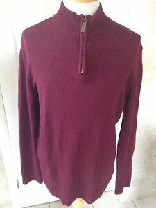 Blue-Harbour-M-amp-S-Mens-Extrafine-Lambswool-Maroon-Jumper-Size-M-Great-Condition