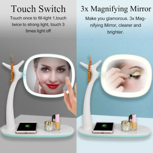 Led Touch Screen Makeup Mirror Tabletop Lighted Cosmetic