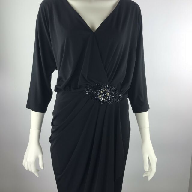 DAVID MEISTER Black V Neck 3/4 Sleeve Ruched Rhinestone Cocktail Dress Plus 16W