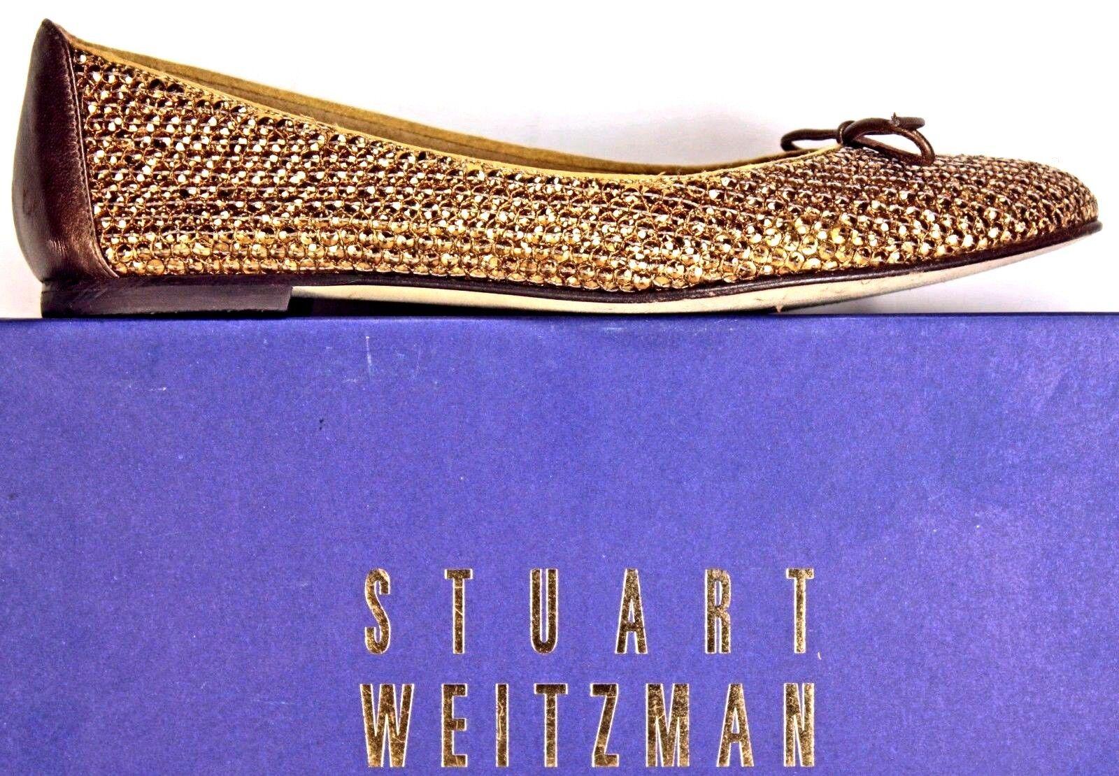 Stuart Weitzman Gold Sequined Leder Accent Ballet Flats sz 8 M