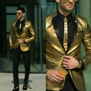 Shiny-Gold-Men-039-s-Suit-Dinner-Party-Prom-Business-Wedding-Suits-Groom-Blazer-pant