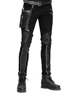 Diablo De Moda Para Hombre Dieselpunk Pantalones Jeans Negro Punk Gotico Imitacion Cuero Bolso De Cadera Ebay