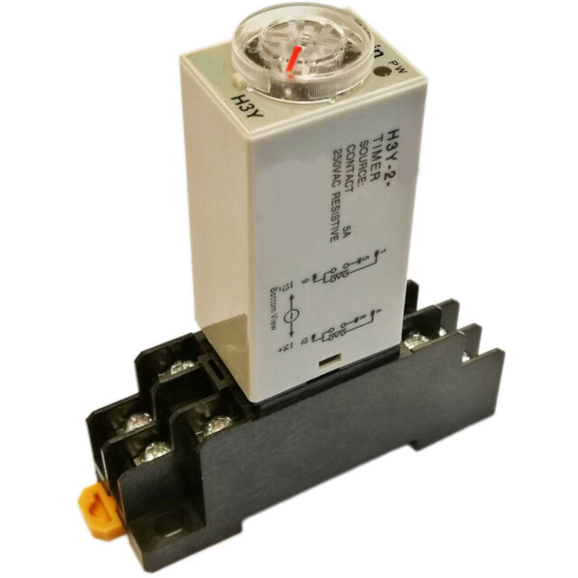 H3Y-4 DPDT Power on Time Delay Relay DC12V 3MIN /& Relay Base