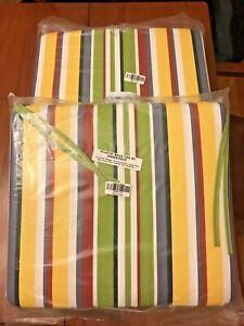 Pleasant Details About 2 New Plow Hearth Outdoor Chair Cushions Carnival Stripe 18 X 17 35655 174 Machost Co Dining Chair Design Ideas Machostcouk