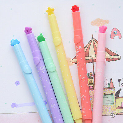Cute 6pcs Candy Colors Stationer  multi shapes Highlighters Marker Pens Writing