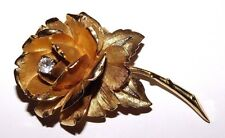 VINTAGE MARCEL BOUCHER BEAUTIFUL ROSE BROOCH WITH CLEAR RHINESTONES