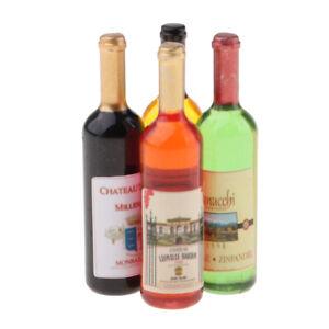 1//12 Dollhouse Miniatures Bottles Mini Wine Champagne Bottles Kitchen Food Accs