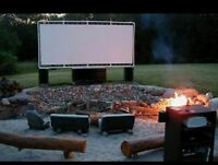 6' X 10' Heavy Duty Outdoor Movie Screen 24 Mil White Vinyl - Screen Only