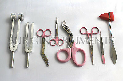 8 Piece PINK Medical Kit EMT Nursing Surgical EMS Student Paramedic HOLIDAY GIFT