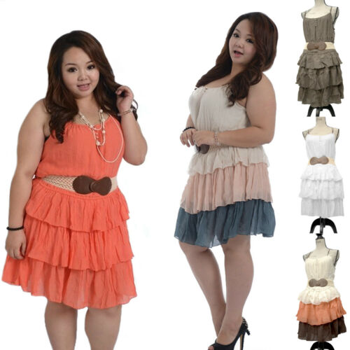 Womens Sleeveless Layered Dress with Elastic Waist Belt Size 14-20