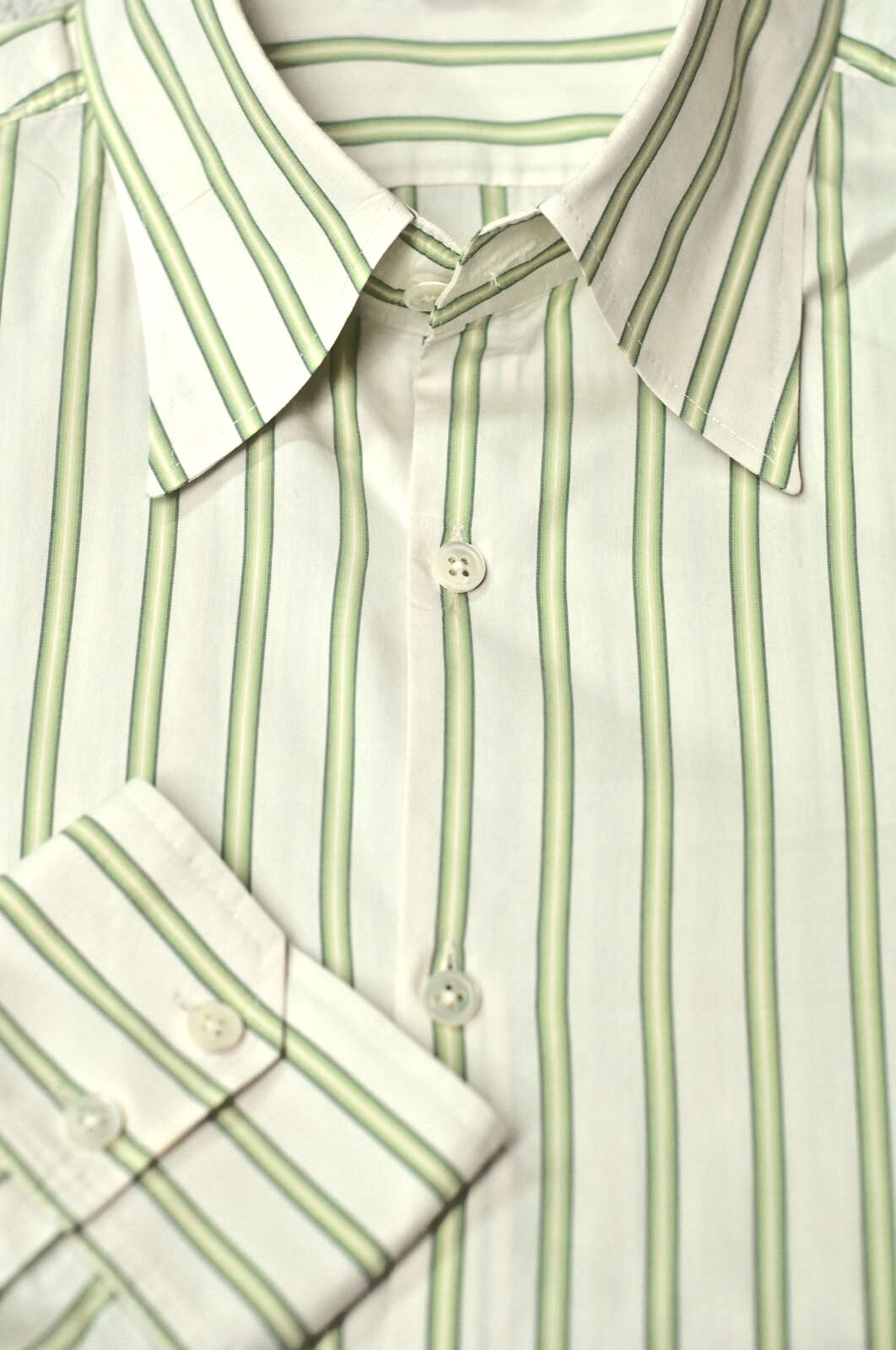 Theory Men's White & Green Stripe Cotton Casual Shirt L Large