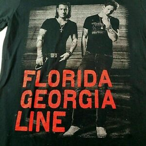 Florida-Georgia-Line-Tour-2015-Concert-Graphic-T-Shirt-Mens-Size-Medium-Black