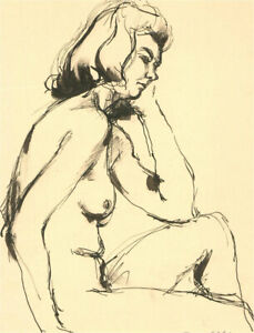 Peter Collins ARCA - Contemporary Pen and Ink Drawing, Nude Study XVII