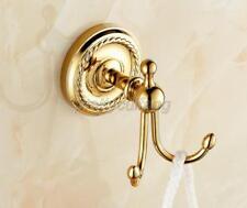 Luxury Gold Color Brass Bathroom Towel Coat Hooks Dual Robe Hook Hanger fba161