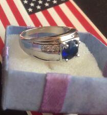 18K Gold Filled Sapphire Blue Bridal Wedding Ring Women Men Sz 10 Anniversary
