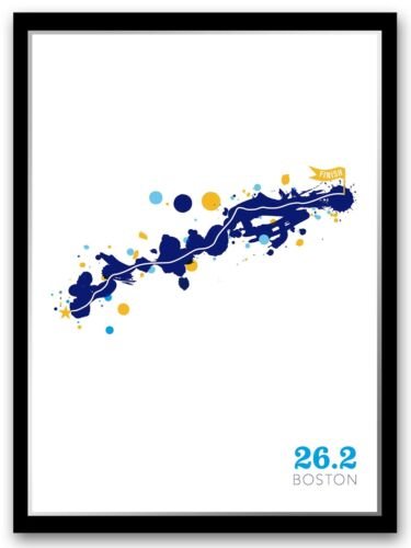 Boston 26.2 Course Map Marathon Poster Unframed