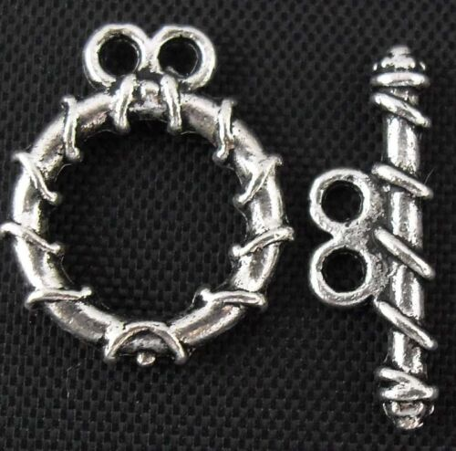 18//41pcs Sets Tibetan Silver Clasps Findings and 18x15 mm Lead-free
